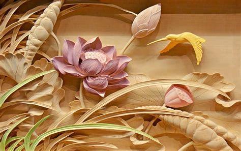 woodcut lotus flower wallpaper personalized custom wall
