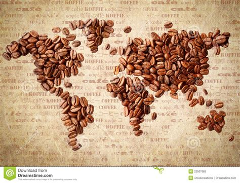 Coffee World world map of coffee beans stock image image of continent