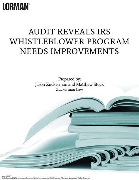 audit reveals irs whistleblower program needs improvements