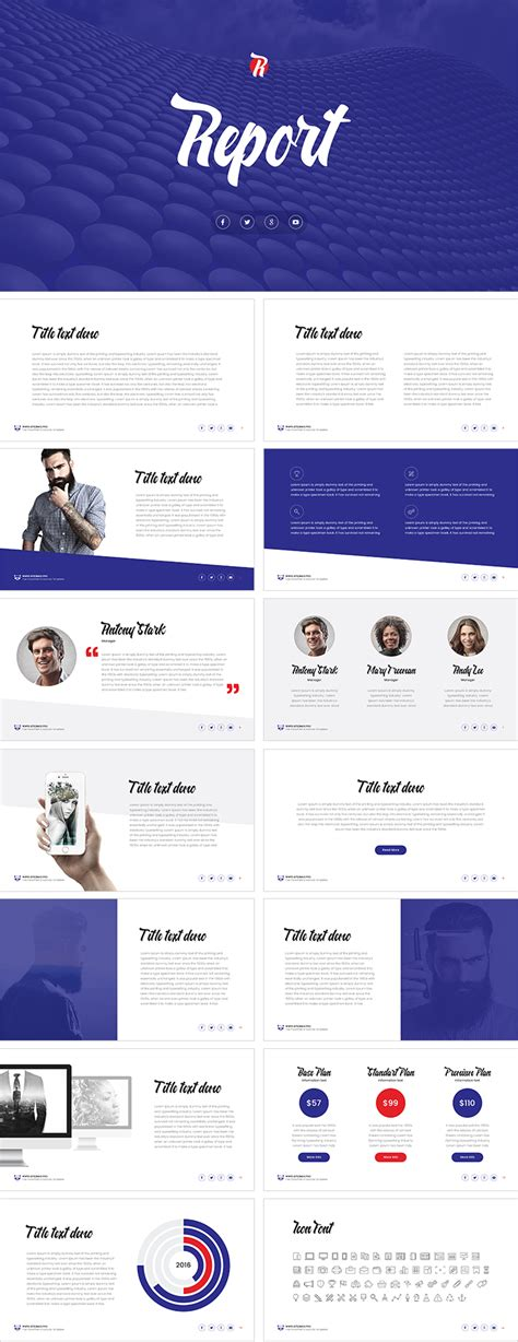 report template powerpoint report free powerpoint template free