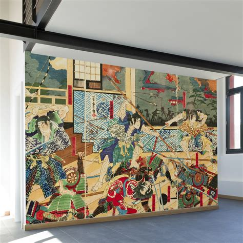 asian wall mural vintage japanese battle wall mural decal 100 quot l x 100 quot w walls need touch of modern