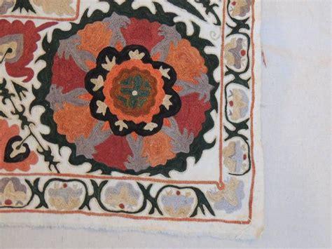 uzbek suzani embroidered textile used as throw wall hanging or vintage uzbekistan embroidery suzani textile panel for