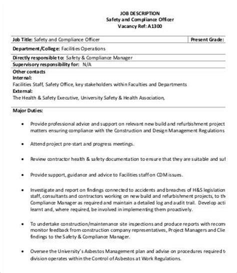 officer description template 9 compliance officer description in pdf free