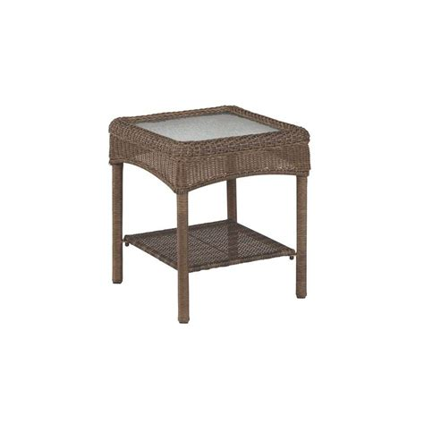 wicker accent table martha stewart living charlottetown brown all weather