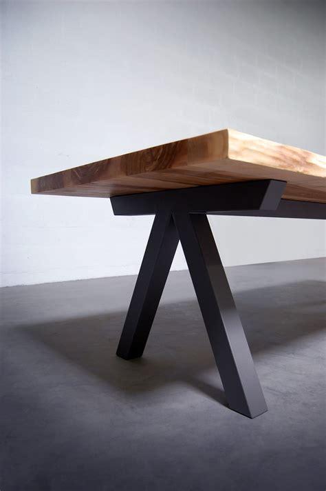 table metal exterieur artmeta aubier table de repas wood table bois pied