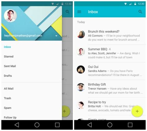 stock android email app sneak peek at android l s redesigned settings gmail calendar and lots more gallery