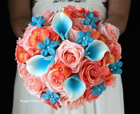 coral flowers coral navy blue blue and coral wedding flowers