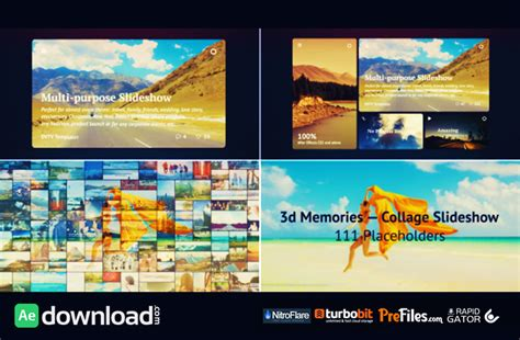 3d Memories Collage Slideshow Videohive Free Download Free After Effects Template Collage After Effects Template Free