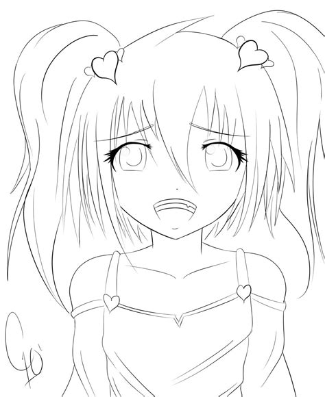 kawaii anime coloring pages cute anime girl by chuloc on deviantart