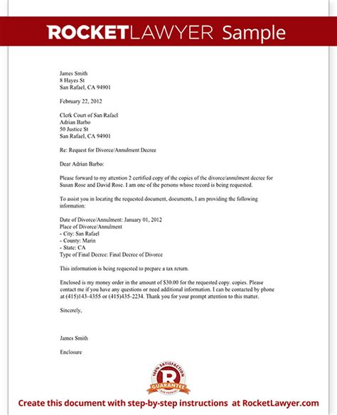 Divorce Letter In Divorce Records Request Letter Template With Sle