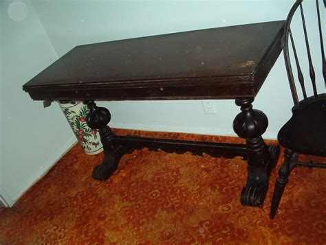 trestle table  opens  drawers trestle feet owned