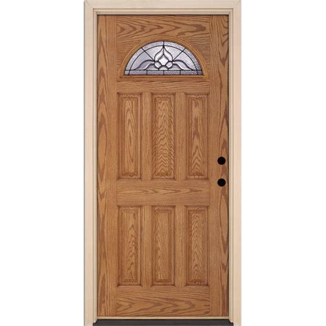 Feather River Doors Lakewood Patina Fan Lite Light Oak Feather River Exterior Doors