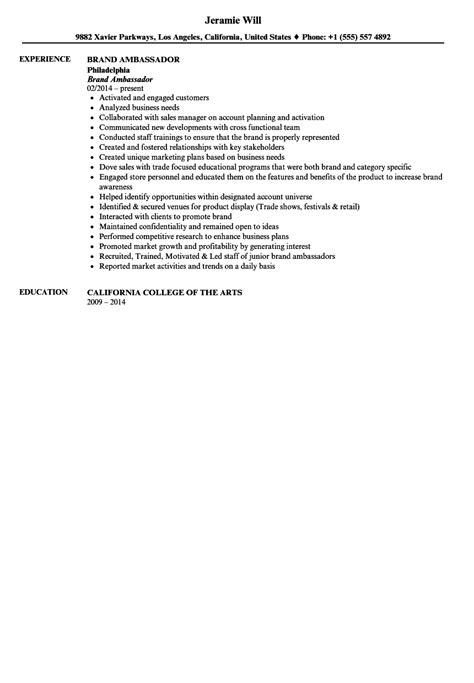 Brand Ambassador Resume by Brand Ambassador Resume Sle Velvet