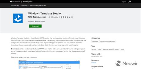 微软发布windows Template Studio 简化uwp应用开发 Microsoft Visual Studio Cnbeta Com Studio Template