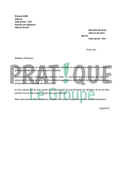 Modeles De Lettre Resiliation Mutuelle modele lettre resiliation mutuelle generale document