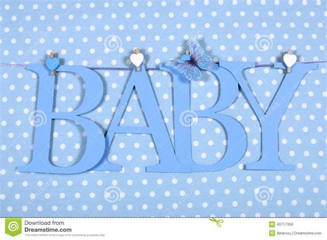 Letter For Boy Baby Boy Nursery Blue Baby Letters Bunting Hanging From Pegs On A Line Against A Blue Polka Dot