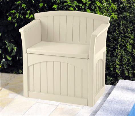 patio storage seat suncast patio seat and garden storage gardensite co uk