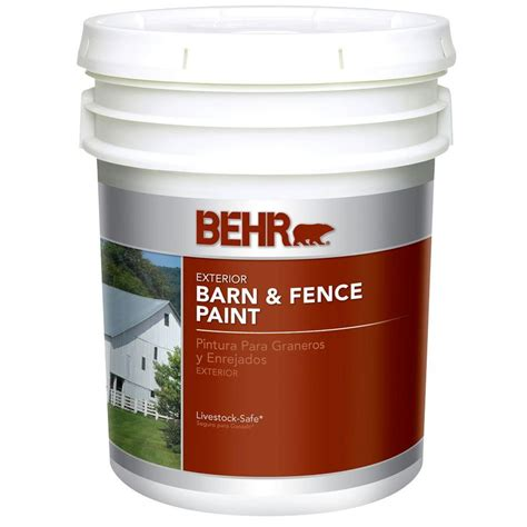 home depot 5 gallon interior paint behr 5 gal white exterior barn and fence paint 3505 the