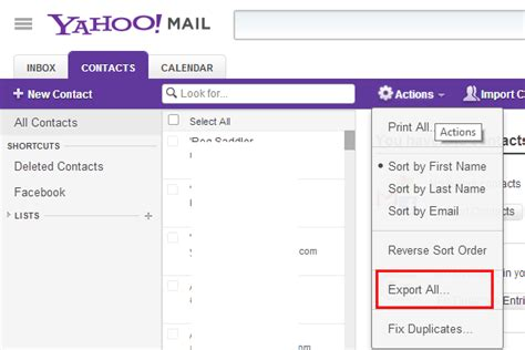 change email format yahoo mail how to export email address of facebook friends