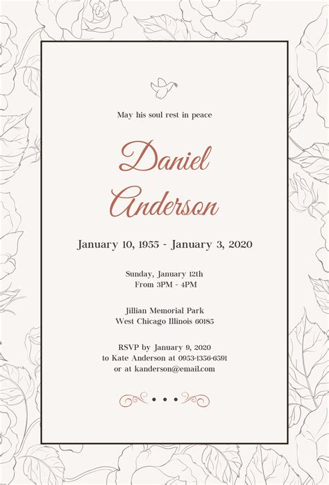 basic invitation template free simple funeral invitation template in psd ms word