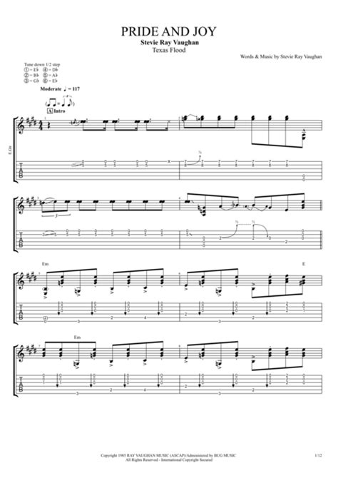 pride  joy  stevie ray vaughan full score guitar pro tab mysongbookcom