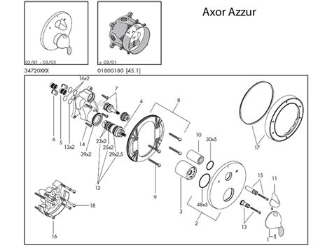 Hansgrohe Shower Parts by Hansgrohe Axor Azzur Shower Valve Spares Shower Spares And