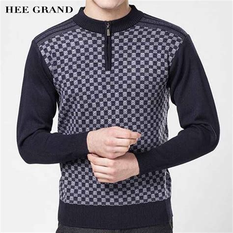 Sweater Rajut Grand Wish aliexpress buy hee grand casual style sweater semi high collar thin wool warm plaid