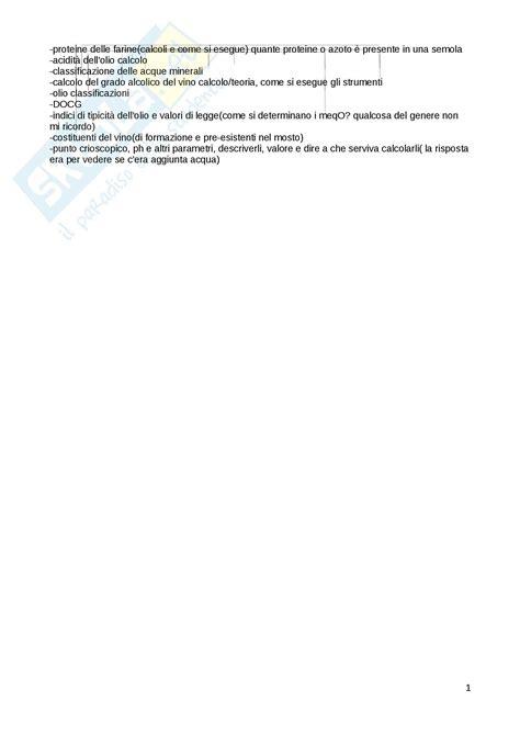 analisi chimiche alimenti lezioni appunti di analisi chimiche dei prodotti