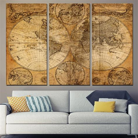 Canvas Decor Vintage World Map hd printed 3 canvas world map picture home decor map canvas painting wall pictures
