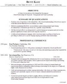 resume senior management of an investment firm