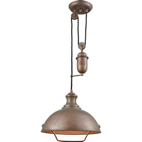 Pulley Pendant Lighting Farmhouse Dome Pulley Pendant By Elk Lighting Lighting Connection Lighting Connection