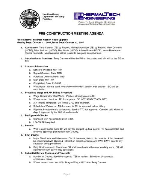 construction meeting minutes template weekly construction meeting agenda 3 best agenda templates