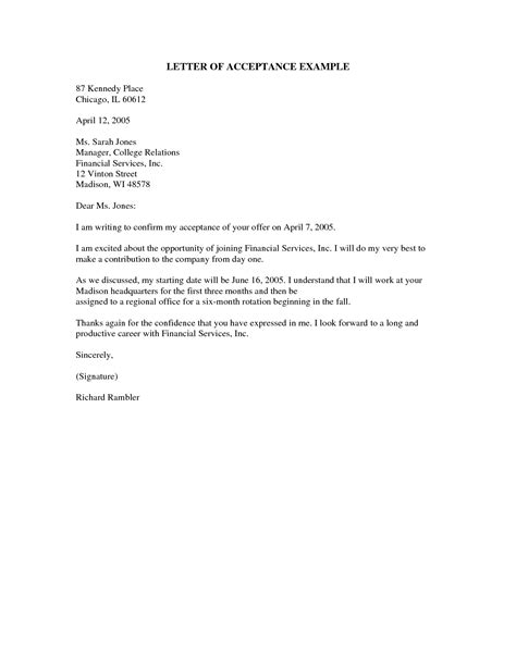 Exle Of Acceptance Letter In Business News Letter Sle The Best Letter Sle