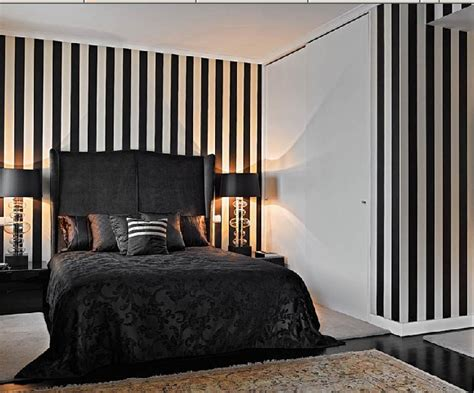 striped bedroom walls miaamos lifestyle blog black white interiors