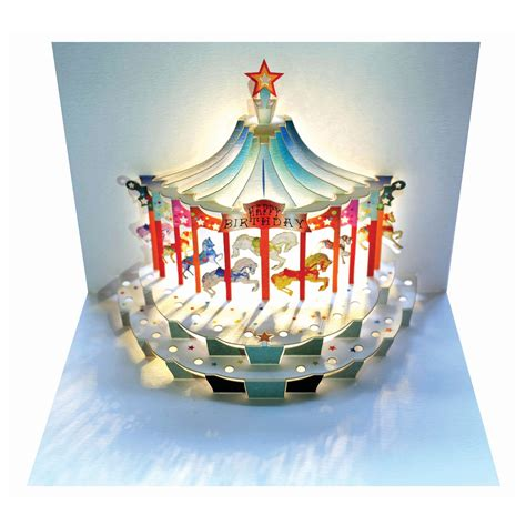 diy carousel pop up card template ge feng forever happy birthday carousel amazing pop up