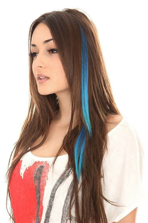 with blue streaks pin by cool hair extensions on clip in hair extensions in