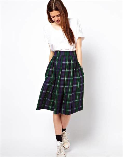 midi skirt in plaid check