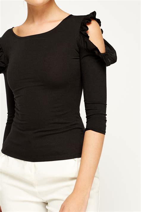 Cut Top cut out shoulder black top just 163 5