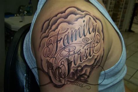 family first tattoo on shoulder
