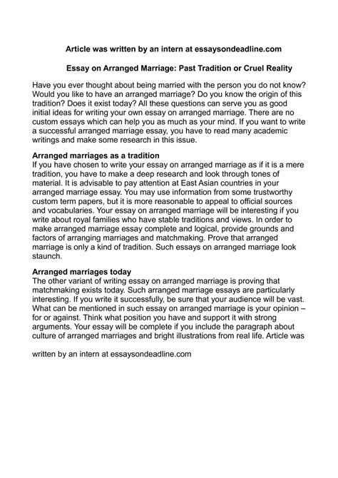 Arranged Marriages Essay by Calam 233 O Essay On Arranged Marriage Past Tradition Or Cruel Reality