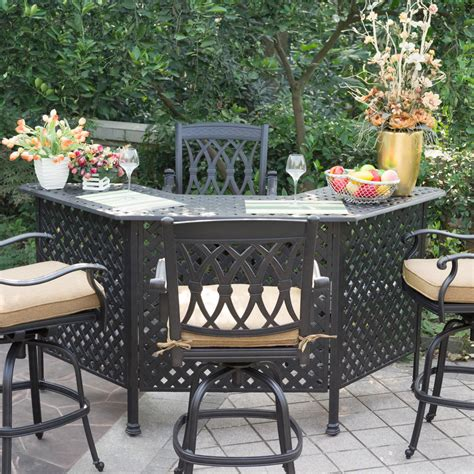 Darlee San Marcos 5 Piece Cast Aluminum Patio Party Bar Patio Furniture Bar Set