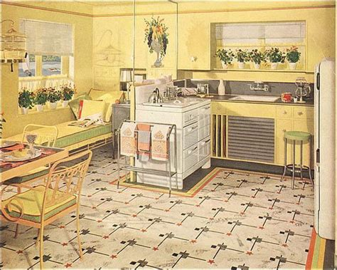 yellow vintage kitchen the beautiful world of 1940s linoleum flooring the