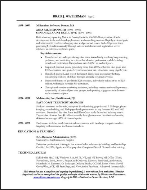 Sles Of Executive Resumes by Resume Sle For A Sales Executive