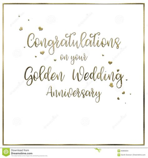 wedding words of congratulations simple golden wedding anniversary card stock illustration