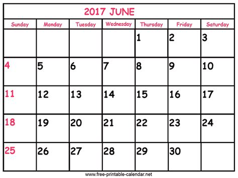 print calendar 2017 june