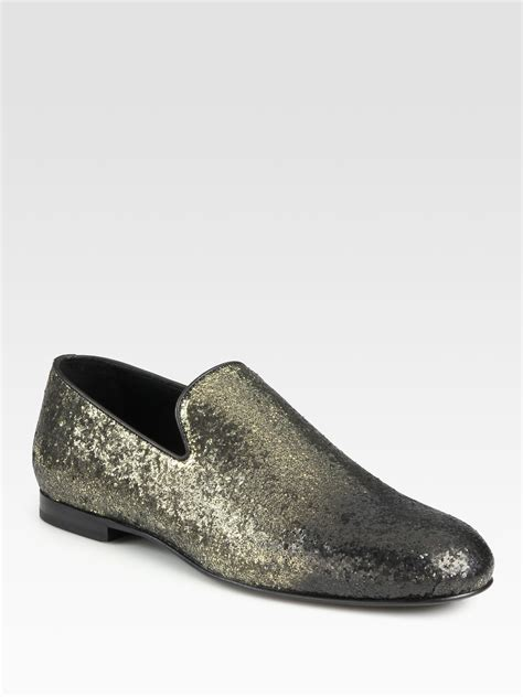 slipper loafers jimmy choo sloane glitter slipper loafers in silver for