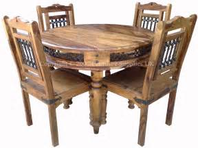 Sheesham jali round dining table amp 4 chairs real wood dining set