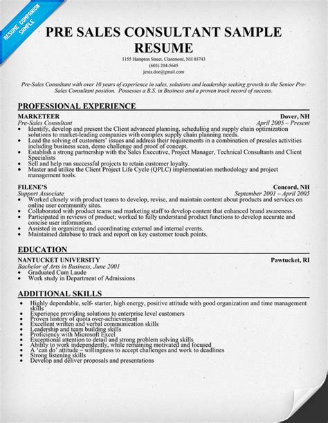 sle counselor resume pre sales resume exle pictures