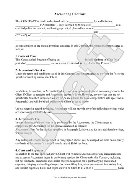 Accounting Contract Template Bookkeeping Agreement Template