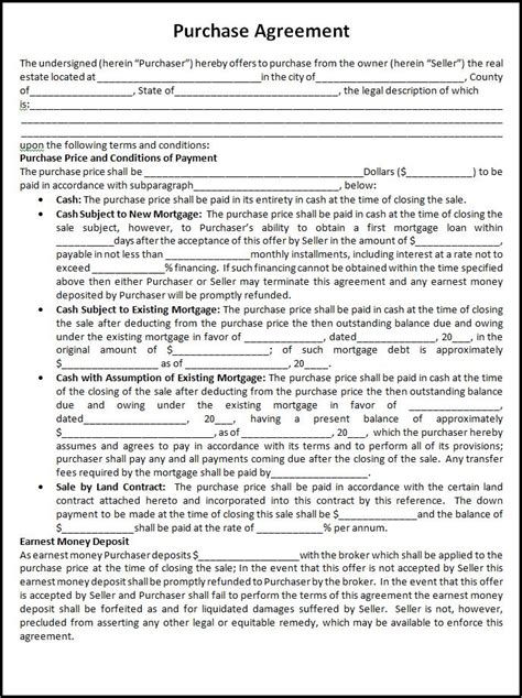 home purchase agreement template agreement templates free printable sle ms word